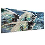 3d Fish Metal Wall Art Teal Blue Coastal Decor Large Beach Artwork on Aluminum Panels Modern Sea Creatures Sculpture Set of Five Pieces for Home Walls