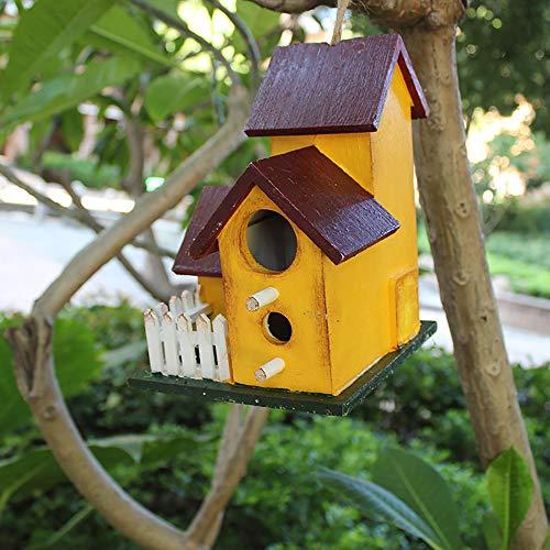 Poulailler 2 PCS Bird House Hanging en bois debout Birdhouse nourriture for oiseaux boîte de rangement chargeur en forme de V toit Nid d'oiseau Hôtel Chalet Jardin d'extérieur Décor de jardin Décorati