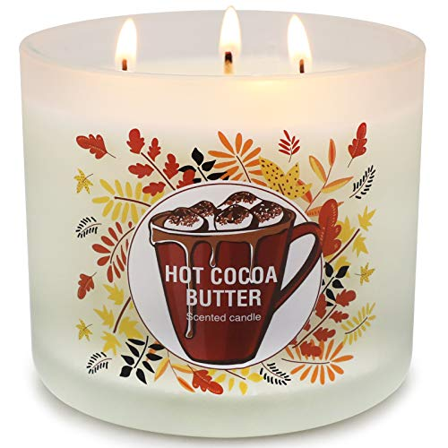 Large Jar Candles for Home Scented, Hot Cocoa Natural Soy Candle14.6oz 3 Wick Scented Candle, 125H Long Lasting Candles Gifts for Women