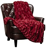 Chanasya Fuzzy Faux Fur Rectangular Embossed Throw Blanket - Super Soft and Warm Lightweight Reversible Sherpa for Couch, Home, Living Room, and Bedroom Decor (50x65 Inches) Maroon