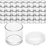 DecorRack 40 Plastic Mini Containers with Lids, 0.5oz, Craft Storage Containers for Beads, Glitter, Slime, Paint or Seed Storage, Small Clear Empty Cups with Lids (40 Pack)