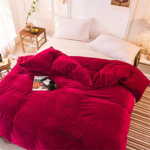 TSZRJ Solid Color Crystal Velvet Plush Shaggy Duvet Cover Winter Thicken Keep Warm Single Double Breathable Comforter Cover Ultra Soft Reversible Gray for Child Youth AdultI-180x220cm(71x87inch)