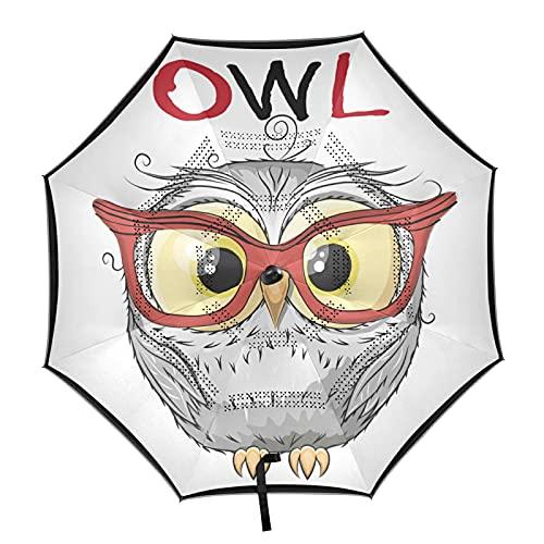 ISAOA - Paraguas de golf con gafas rojas, diseño de búho, con funda de transporte