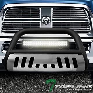 Topline Autopart Matte Black Bull Bar Brush Push Bumper Grill Grille Guard With Aluminum Skid Plate + 120W CREE LED Fog Light For 09-18 Dodge Ram 1500/2019 Classic
