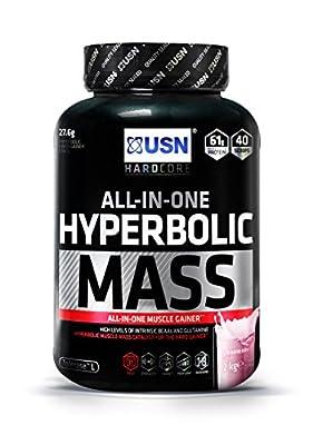USN Hyperbolic Mass All-In-One Gainer Shake Powder, Strawberry, 2 kg from USN