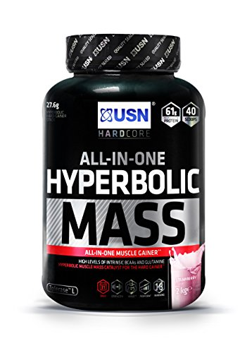 USN Hyperbolic Mass All-In-One Gainer Shake Powder, Strawberry, 2 kg