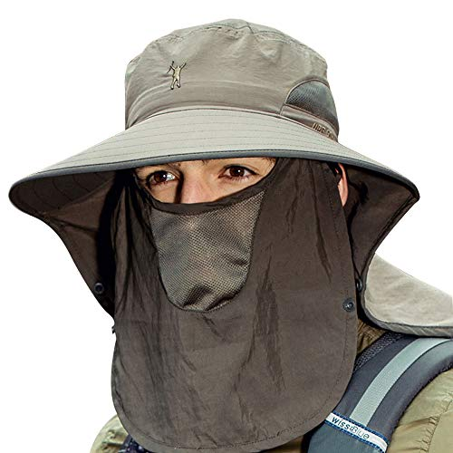 Cooltto Cappelli alla Pescatora da Uomo Tesa Larga Cappello da Sole da Uomo con Patta per Il Collo e Asciugamano Viso Rimovibile Traspirante e Impermeabile con Protezione UV UPF 50+-Army Green