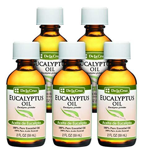 De La Cruz Pure Eucalyptus Essential Oil, Steam Distilled, Bottled in USA 2 FL. OZ. (5 Bottles)