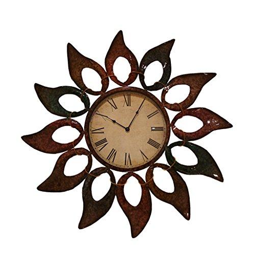 PENGJIE Horloge Murale Sun Fleur Forme Forgé Fer Forgé Horloge Murale Salon Art Horloge Horloge Murale Suspendus Table 76 * 76 Cm Horloge d'art
