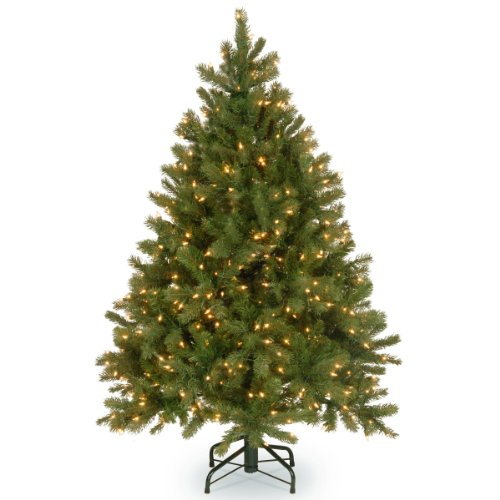 National Tree 4.5 Foot 'Feel-Real' Downswept Douglas Fir Tree with 450 Clear...