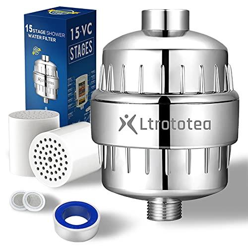 Hochleistung Duschfilter shower filter 15-Schichten, mit Extra-Ersatz Filterpatronen Kartusche, zur Entfernung Wasser Chlor Schwermetall Fluoride, Wasser Weichmache