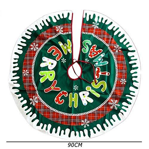 Demiawaking Rock für Weihnachtsbaum aus Stoff für Weihnachtsbaum, Weihnachtsdekoration, 90 cm Merry Christmas