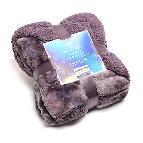 Kingole Faux Fur Oversized Throw Blanket, Thick and Warm Luxurious Plush Travel Sherpa Blanket for Couch Sofa Bed, 50 x 60 Inch, Lavender