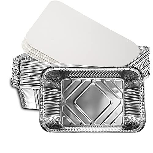 Bandeja de papel de aluminio Sartenes de papel de aluminio con tapas Contenedores de comida desechables para llevar Cocina Preparación de alimentos