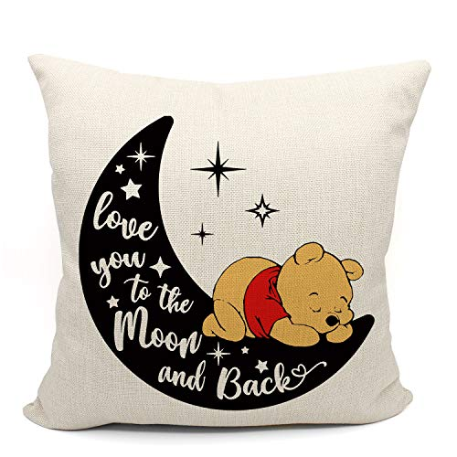 Love You to the Moon and Back Throw Pillow Case, Gifts for Daughter, Gifts for Son, Children Room Decor, Classic Winnie the Pooh Pillow, 18 x 18 Inch Linen Cushion Cover for Sofa Couch Bed