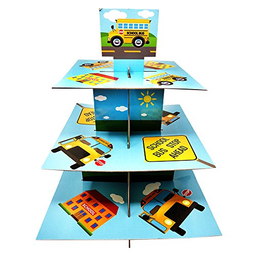 School Bus Cupcake Stand & Pick Kit, School Bus Party Supplies, School Bus Decorations, Birthdays, Cake Decorations, Kids Birthdays, 3 Tier Cardboard