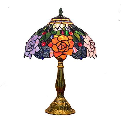 W&HH Escritorio de lámpara de Mesa de Estilo Tiffany de 12 Pulgadas al Lado de Las lámparas, Rosa manchada de Cristal Sombra Tradicional Rosa Antigua Zinc Base de Zinc para Sala de Estar Dormitorio