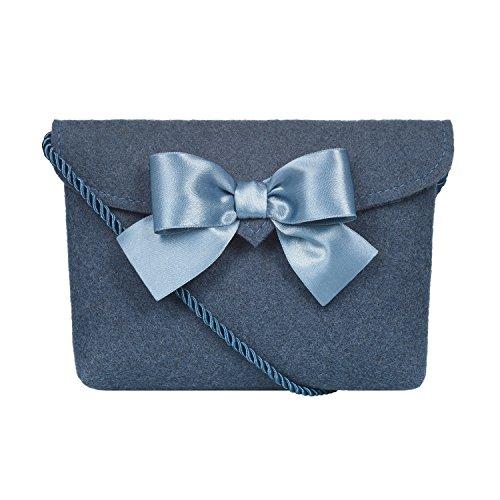 Almbock Trachten-Tasche Lilly in blau taubenblau - Trachtentasche handmade, handgemacht, aus 100% echtem Wollfilz, Tasche mit Schleife