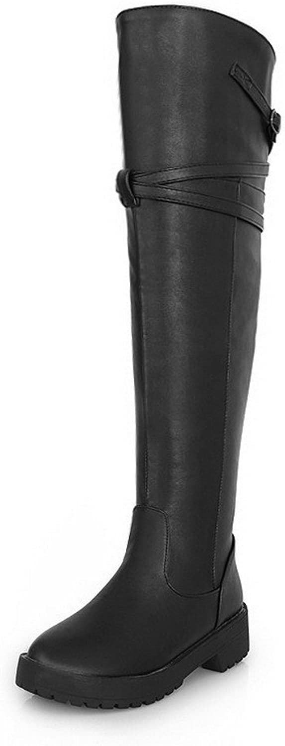 WeenFashion Womens Round Closed Toe Low Heels PU Short Plush Solid Boots Belt Buckle