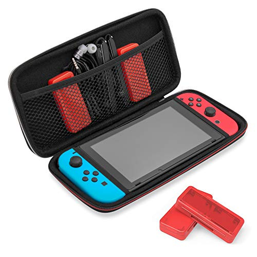 Travel & Storage Case for Nintendo Switch by TalkWorks | Durable Dual Zippers, Carrying Handle, Mesh Side Pocket Divider (Includes 2 Game Card Holder Cases - Holds up to 8 Game Cards)