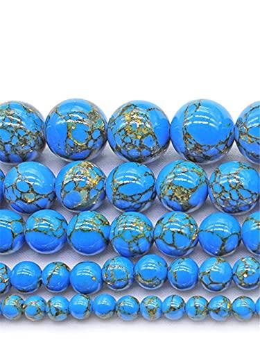 Cuentas espaciadoras redondas de color turquesa para hacer joyas, collar de pulsera de 15 pulgadas, 4/6/8/10/12 mm, azul 4 mm aprox. 93 cuentas