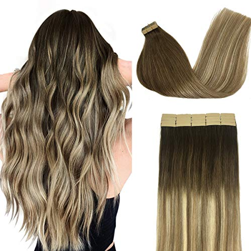 Doores Tape in Hair Extensions Human Hair Ombre Walnut Brown to Ash Brown and Bleach Blonde 20 Inch 20pcs 50g Remy Human Hair Extensions Tape in Straight