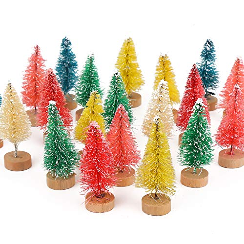 FINGOOO 24Pack Mini Christmas Trees Artificial Frosted Sisal Trees, Bottle Brush Trees with Wood Base DIY Crafts Mini Pine Tree for Xmas Holiday Home Tabletop Decor Winter Ornaments