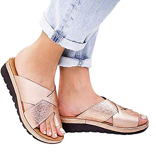 Crazy lin Fashion Women Comfy Platform Sandal Shoes Comfortable Summer Beach Travel Slippers Shoes for Big Toe Bone Correction (Rose Gold, 38)