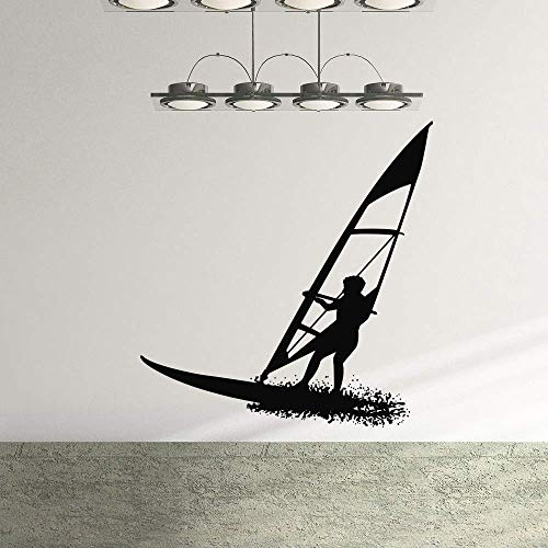 SHUIG Surfboard Guy Sportsman Wandaufkleber Kinderzimmer Kinder Jungen Raumdekoration Vinyl Art Abnehmbare Poster Wandtattoos 80 * 84Cm