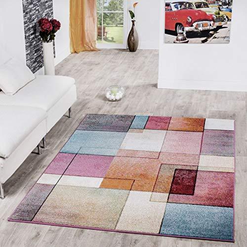 T&T Design Alfombra De Cuadros Multicolor De Pelo Corto Modelo De Diseño Al Mejor Precio, Größe:160x220 cm