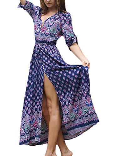 Strandkleider Damen Elegant Sommer Kleid Lang Vintage Hippie Böhmen Ethno Style Druck Halber Ärmel V Ausschnitt Einreihig Sommerkleider Mode Casual Lange Kleider Boho Kleid