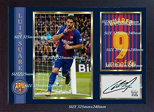 Luis Suarez Barcelona soccer autograph signed poster photo print FRAMED (13 in x 10 in approx)