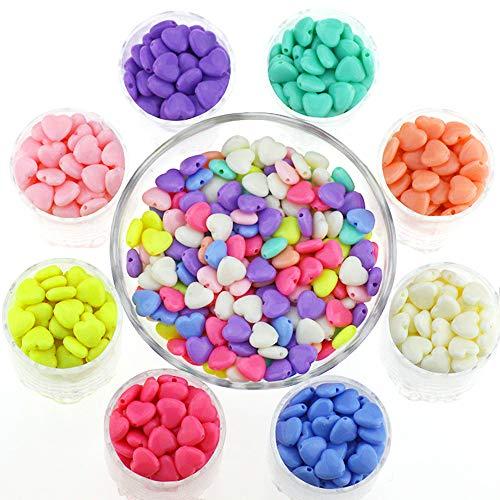 Chingde Perlen Zum Auffädeln, 1130 Stück Acryl Perlen, Perlenschmuck Basteln, Herz Perlen, Farbige Perlen, Perlen Armbänder für Kinder Mädchen