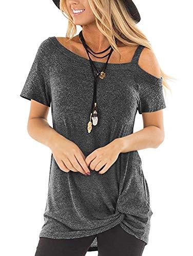 TEMOFON Women's Shirts Cold Shoulder Tops Summer Short Sleeve Casual Twist Knot Blouse T-Shirt Dark Grey XL