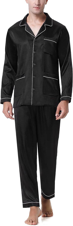 NA Pijama de Hombre, Pijamas Seda Hombre Larga Conjunto de Pijama Seda Hombre con Botones Pijama de Satén Manga Largo con Bolsillos Ropa de Casa Cómodo Elegante para El Hogar y El Ocio