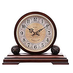 JGYu Mantel Clocks Wood with Westminster Chime. This Solid Wood Decorative Chiming Mantel Clock is Battery Operated Westminster Chimes On The Hour Table Clocks (Color : Deep Color)