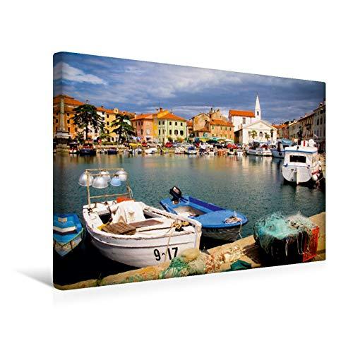 Lienzo premium de 45 cm x 30 cm horizontal, el puerto pesquero pintor de Izola, Eslovenia, imagen sobre bastidor, imagen lista para colocar en la costa eslovena. (CALVENDO Orte);CALVENDO lugares