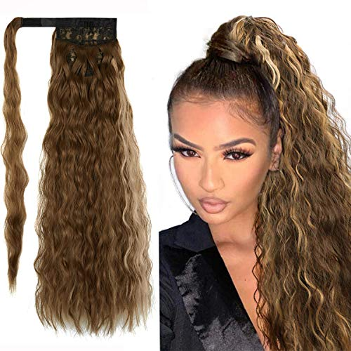 SLLIE 22' Kinky Curly Wrap Around Yaki Ponytail Extension Long Wavy Synthetic Hair Extensions Clip in Ponytail