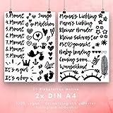 50 Tattoo Motive zum Aufkleben für den Babybauch in der Schwangerschaft, Wunderschöne Klebetattoos für dein Schwangerschaftsbauch Fotoshooting, vegane und hautfreundliche Belly Tattoos Set 1