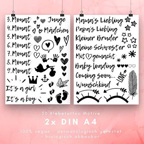 50 Tattoo Motive zum Aufkleben für den Babybauch in der Schwangerschaft, Wunderschöne Klebetattoos für dein Schwangerschaftsbauch Fotoshooting, vegane und hautfreundliche Belly Tattoos