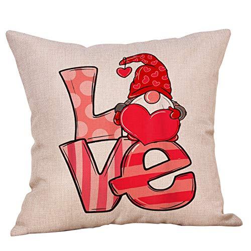 Fundas de almohada para el día de San Valentín, funda de almohada de búfalo, funda de cojín, funda de cojín de algodón y lino, para decoración del hogar, sofá, día de San Valentín, 45,7 x 45,7 cm