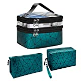 Aynaxcol Makeup Bags Set 3 Pcs Portable Travel Cosmetic Bag Organizer Pouch Waterproof Large Capacity Make Up Purse Toiletry Storage Bags Gift with Adjustable Dividers for Women & Girls (Green)