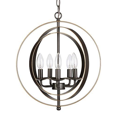 CO-Z 5 Light Orb Chandelier, Sphere Orb Hanging Lights for Dining Room Entryway Foyer Kitchen Bedroom, Antique Bronze Rustic Industrial Globe Metal Pendant Farmhouse Lighting Ceiling Light Fixture
