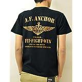 (ジーンズバグ)JEANSBUG A.F. ANCHOR オリジナル エアフォース ミリタリー プリント 半袖 Tシャツ メンズ レディース 大きいサイズ ST-AFANCHO L クロ×ヤマブキ(23)