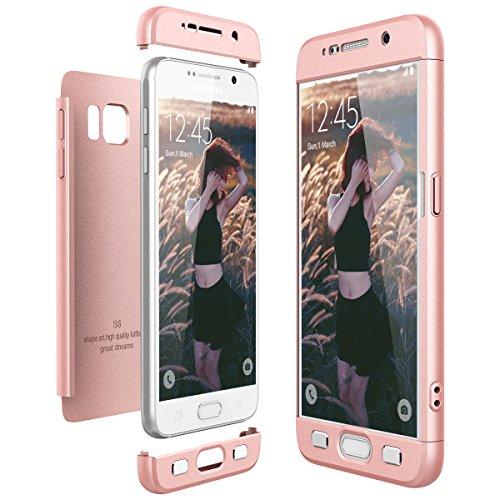 CE-Link für Samsung Galaxy S6 Hülle Hardcase 3 in 1 Handyhülle Ultra Dünn Hartschale 360 Grad Full Body Schutz Schutzhülle Bumper - Rosegold