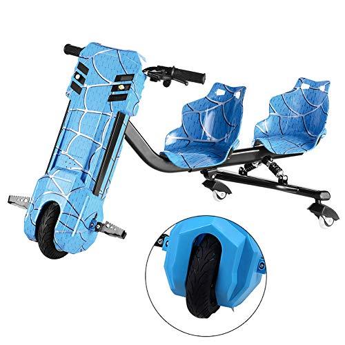 Tretroller Elektro Motor Dreirad Elektrische Drift-Trikes Mit Doppeltem Federstoßdämpfer ABS-Material, Doppelsitzdesign Geeignet Für Vater Und Kind Zusammen Zu Reiten,Blau
