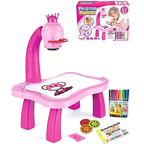 N / D Child Learning Desk with Smart Projector, Kids Learning Tables, Drawing Painting Set with Light &Music, Christmas Birthday Gift for Kids Boys Girls (Pink, One Size)