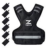 ZELUS Chaleco Lastrado para Entrenamiento de Fuerza Chaleco de Peso Ajustable 4.5KG/9KG/14.5KG con 6 Bolsas de Arena de Hierra Chaleco de Pesos para Hombre y Mujer (5-9kg)