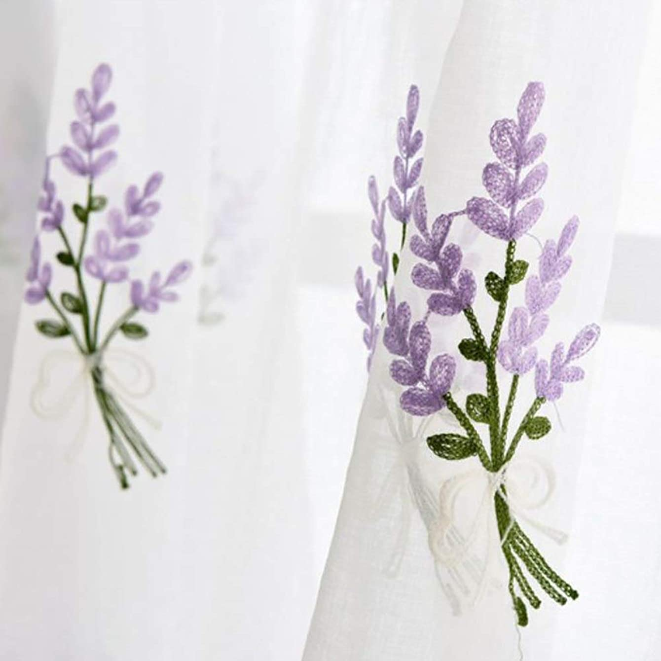 Window Screens - Elegant Lavender Embroidery Window Curtains Rod Through Tulle Sheer Home Decor - Bamboo Camping Expandable Trucks Kits Baby Cloth Dogs Mesh Screens Replacement Cars 48x99