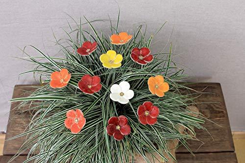 Blumen, Keramik, Blumenstrauß, 11er Set, warme Farben